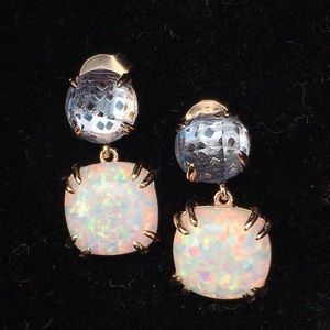 Fire Opal & London Topaz Rose Gold Earrings